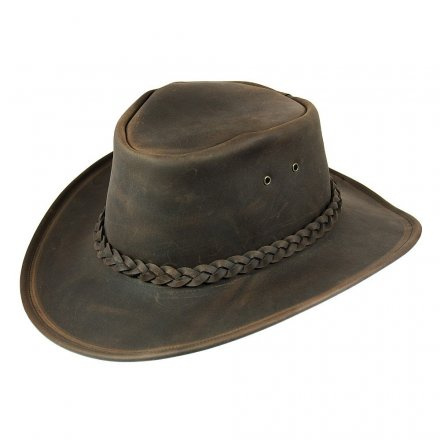 Kapelusze - Jaxon Hats Crushable Leather Outback (brązowy)